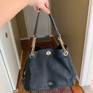 Coach black leather 'Edie' shoulder bag